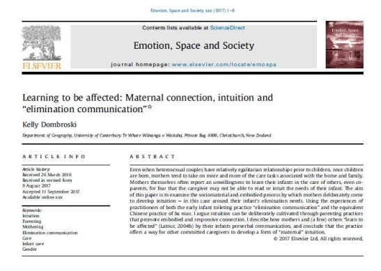 Article in Emotion, Space and Society